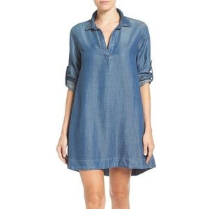 anthro / cloth & stone chambray tunic dress medium